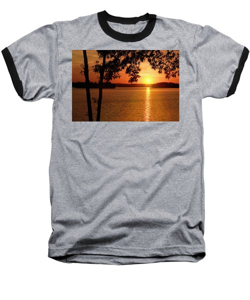 Smith Mountain Lake Silhouette Sunset Baseball T-Shirt