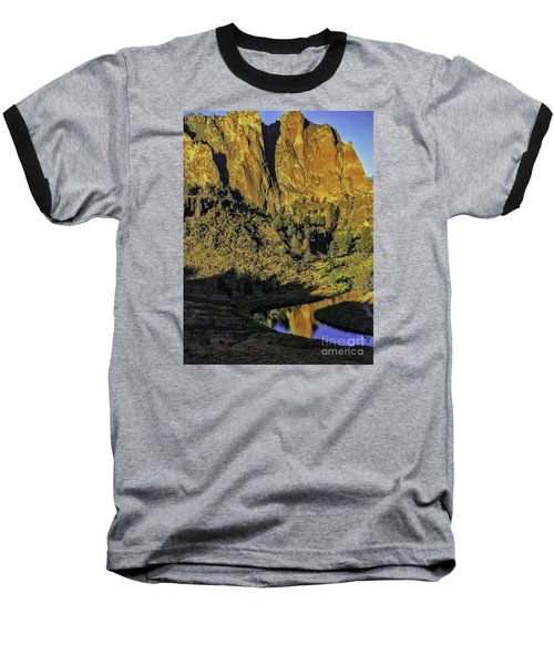 Smith Rock Reflections-1 Baseball T-Shirt by Nancy Marie Ricketts