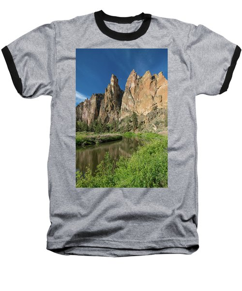 Smith Rock Spires Baseball T-Shirt by Greg Nyquist