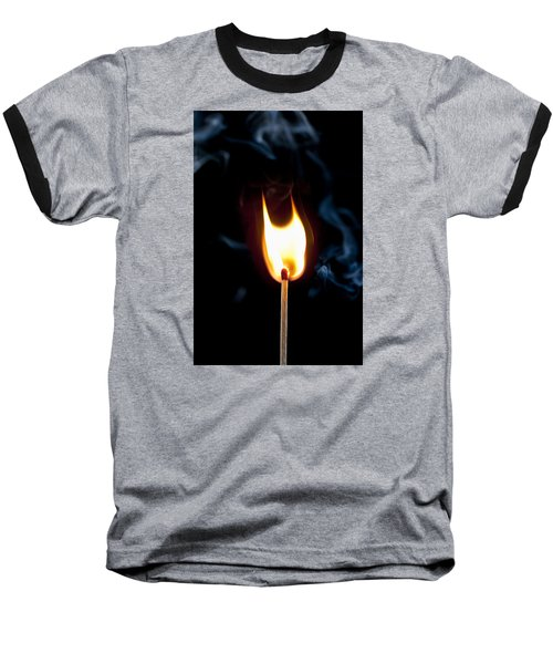 Smoke And Fire Baseball T-Shirt by Tyson and Kathy Smith