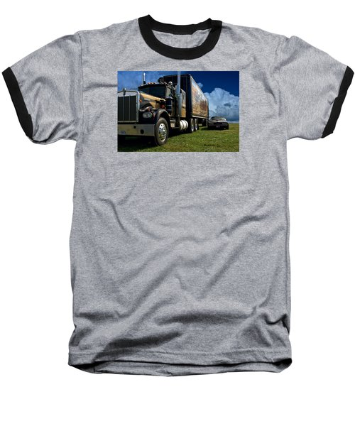 Smokey And The Bandit Tribute 1973 Kenworth W900 Black And Gold Semi Truck And The Bandit Transam Baseball T-Shirt by Tim McCullough