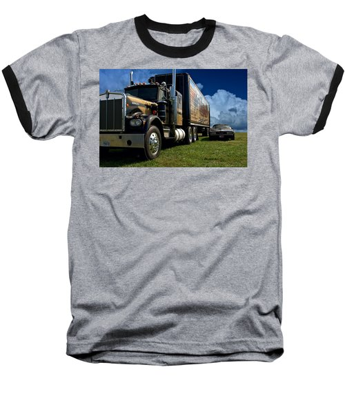 Smokey And The Bandit Tribute 1973 Kenworth W900 Black And Gold Semi Truck And The Bandit Transam Baseball T-Shirt