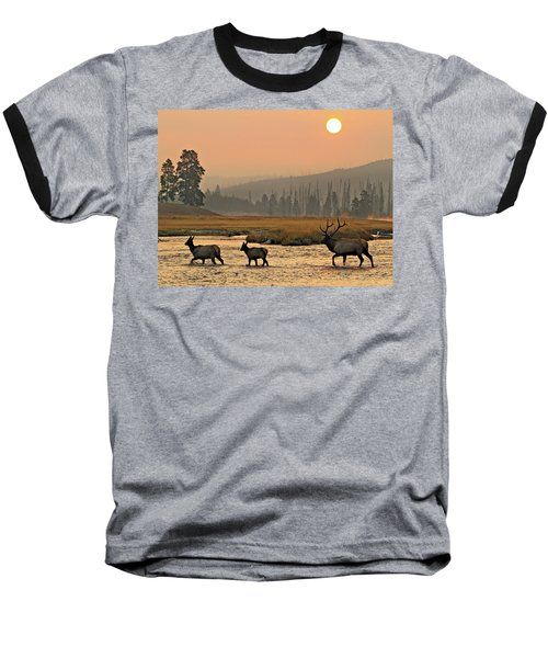 Baseball T-Shirt featuring the photograph Smokey Elk Crossing by Wesley Aston