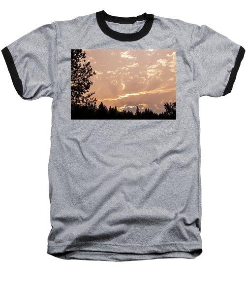 Smokey Skies Sunset Baseball T-Shirt by Melanie Lankford Photography