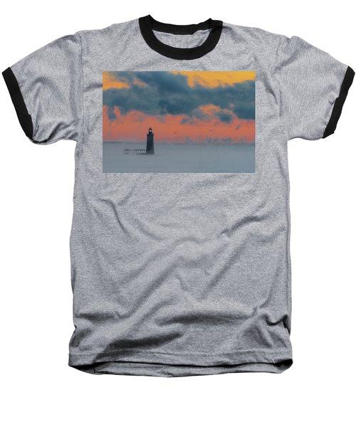 Smokey Sunrise At Ram Island Ledge Light Baseball T-Shirt