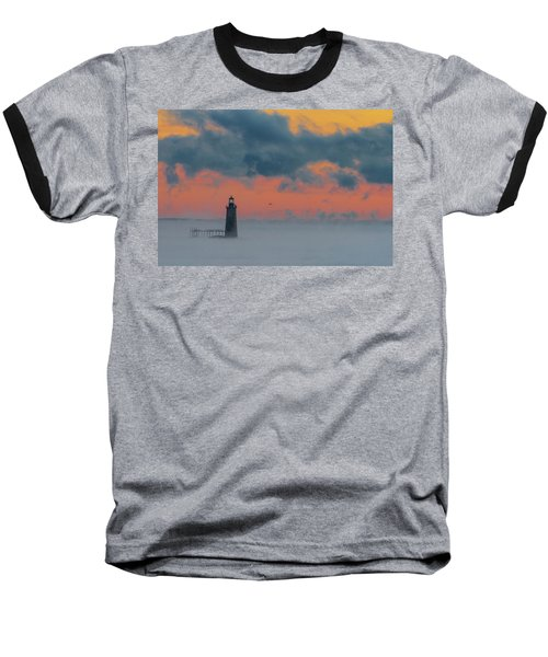 Smokey Sunrise At Ram Island Ledge Light Baseball T-Shirt