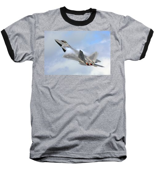 Baseball T-Shirt featuring the digital art Smokin - F22 Raptor On The Go by Pat Speirs