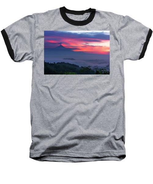 Smoking Volcano And Borobudur Temple Baseball T-Shirt