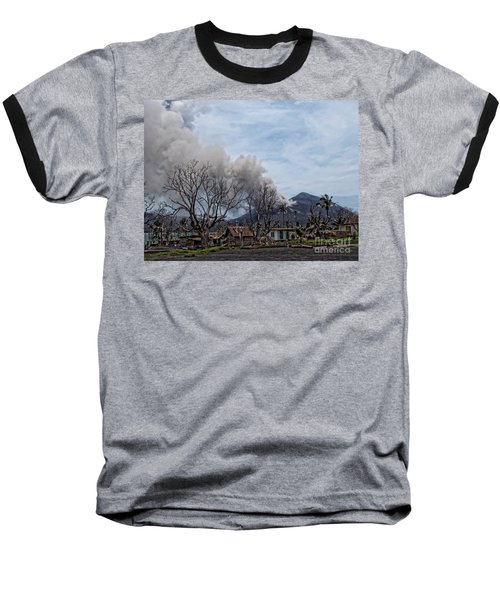 Smoking Volcano Baseball T-Shirt by Trena Mara