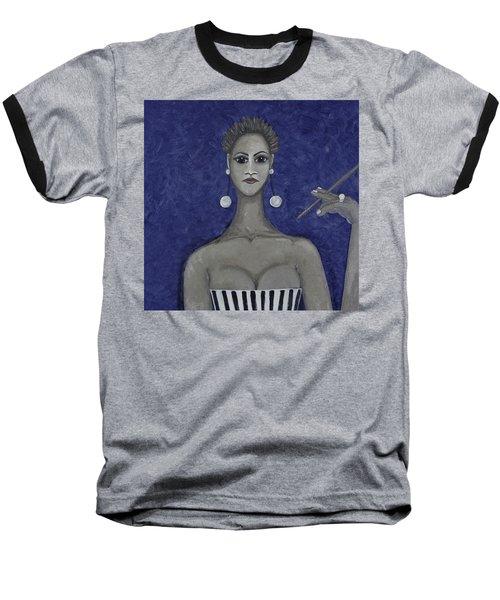 Smoking Woman 3 - Blue Baseball T-Shirt