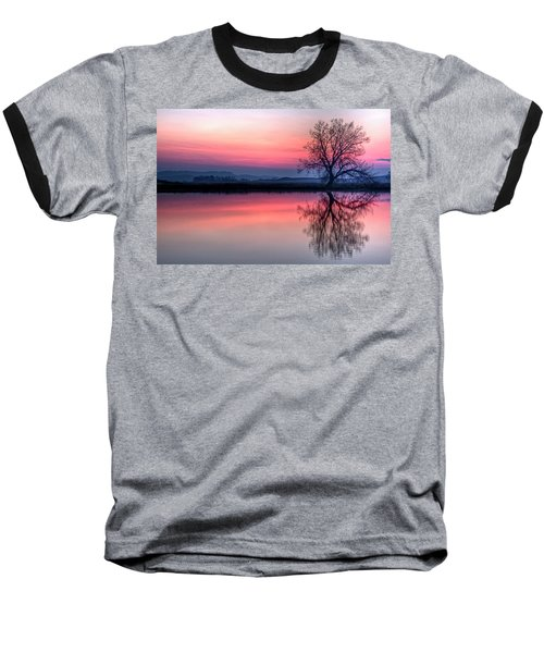 Smoky Sunrise Baseball T-Shirt by Fiskr Larsen