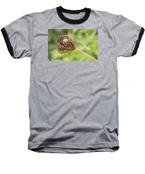 Baseball T-Shirt featuring the photograph Snail Nestled In Queen Anne's Lace by Betty Denise