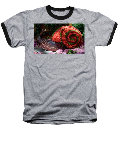Snail With Flowers Baseball T-Shirt