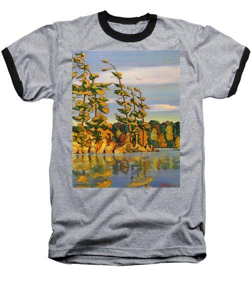 Snake Island In Fall Sunset Baseball T-Shirt by David Gilmore