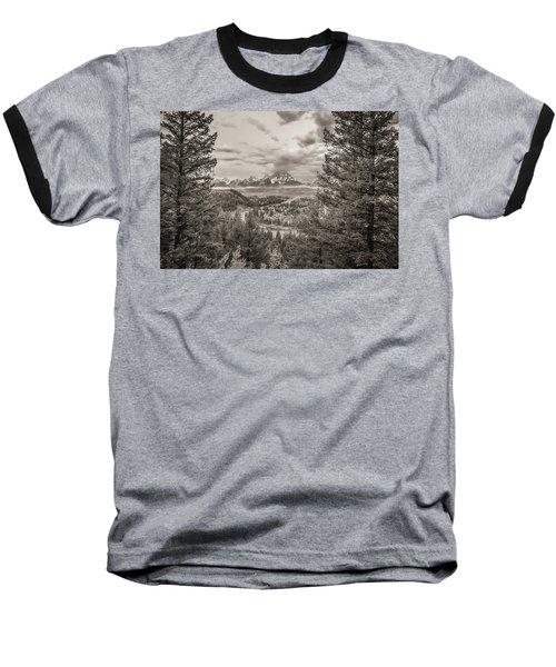 Snake River Overlook Grand Teton Monochromatic Baseball T-Shirt