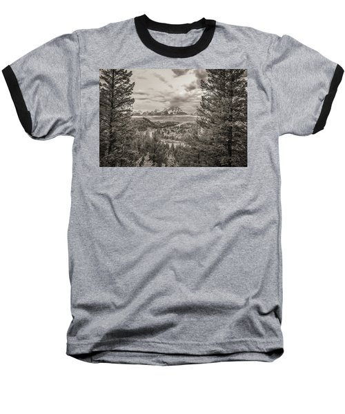Snake River Overlook Grand Teton Monochromatic Baseball T-Shirt