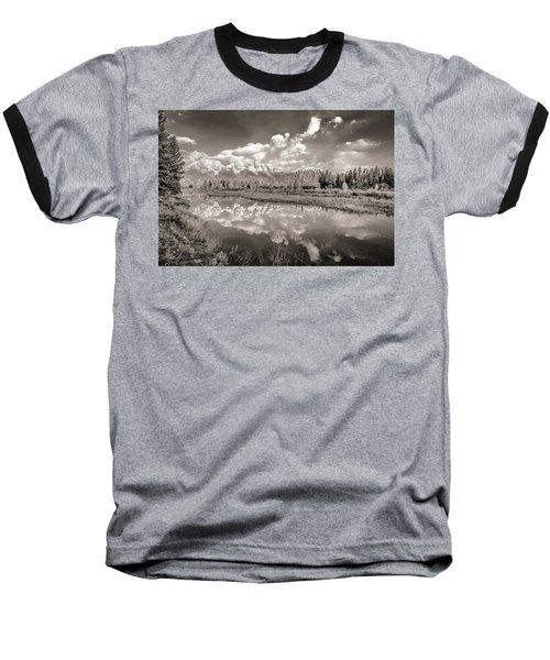 Snake River Reflection Grand Teton Monochromatic Baseball T-Shirt
