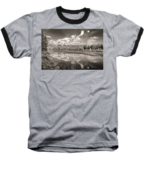 Snake River Reflection Grand Teton Monochromatic Baseball T-Shirt