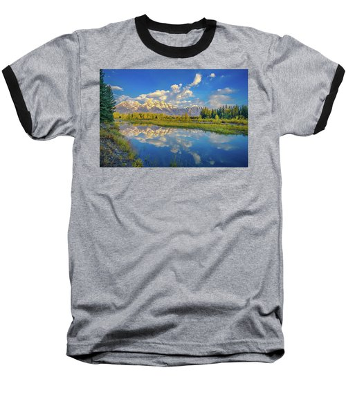 Snake River Reflection Grand Teton Baseball T-Shirt
