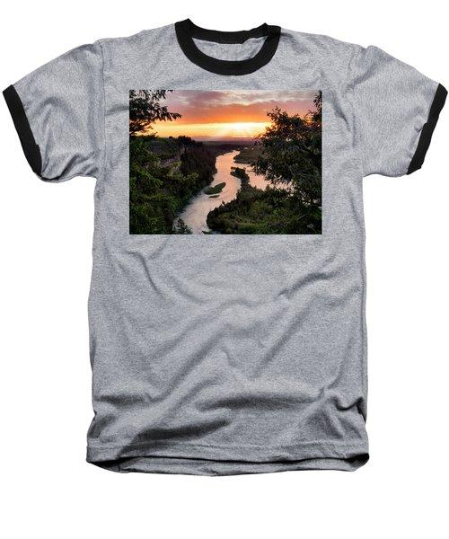 Snake River Sunset Baseball T-Shirt by Leland D Howard