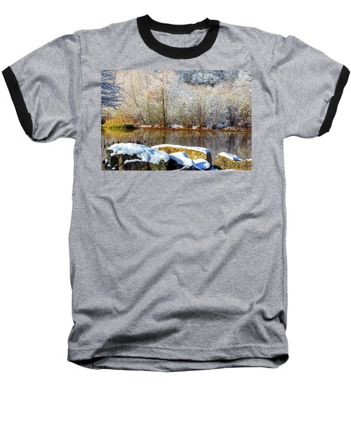 Snow Across The Lake Baseball T-Shirt