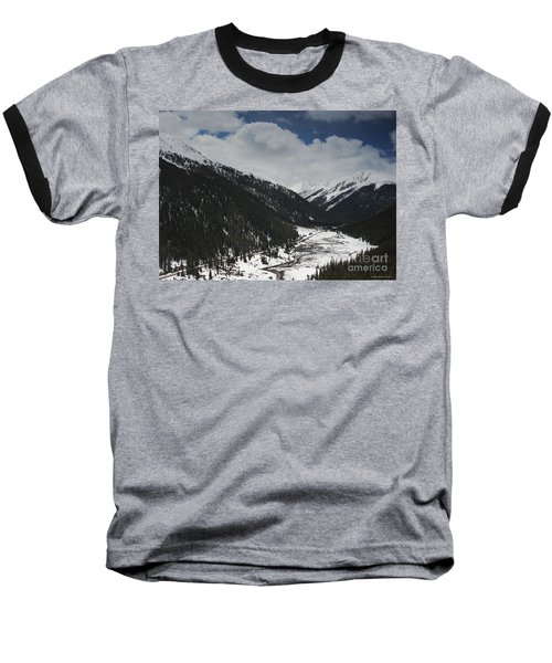 Snow At Independence Pass Colorado Highway 82 Baseball T-Shirt by Nature Scapes Fine Art