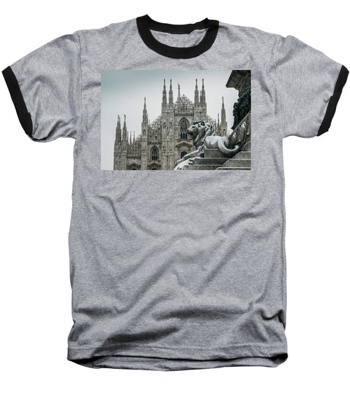 Snow At Milan's Duomo Cathedral  Baseball T-Shirt