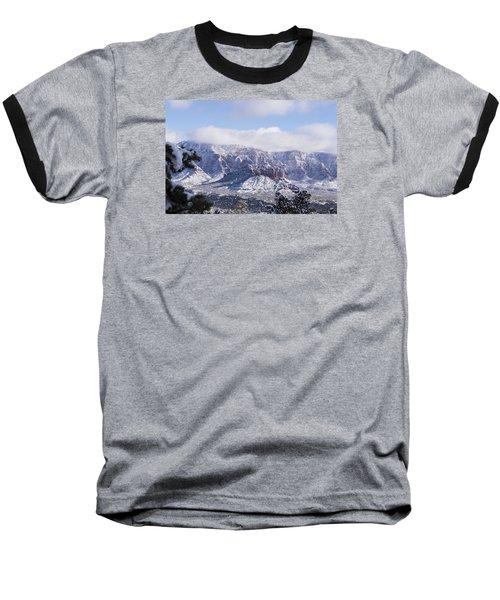 Snow Blanket Baseball T-Shirt by Laura Pratt