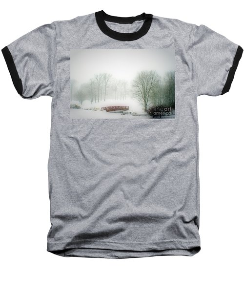 Baseball T-Shirt featuring the photograph Snow Bridge by Polly Peacock