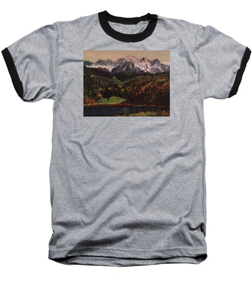 Snow Caped Mountain Baseball T-Shirt