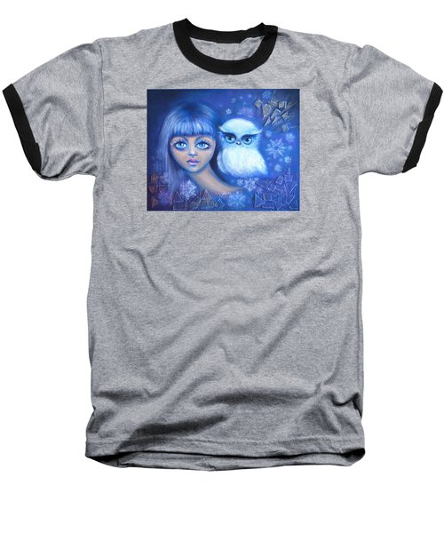 Baseball T-Shirt featuring the painting Snow Children by Agata Lindquist