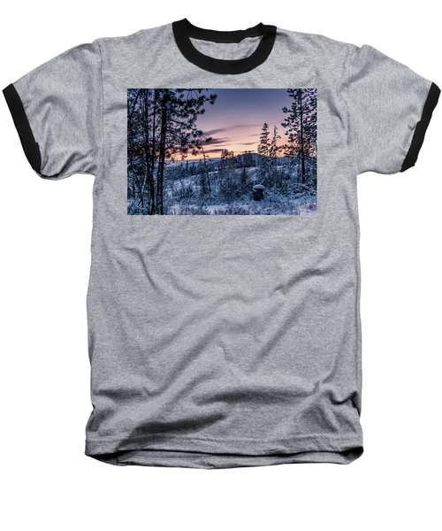 Snow Coved Trees And Sunset Baseball T-Shirt