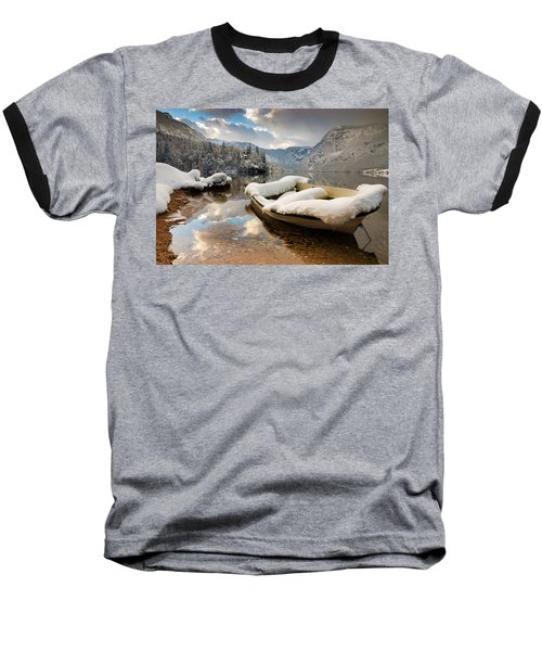 Snow Covered Boat On Lake Bohinj In Winter Baseball T-Shirt