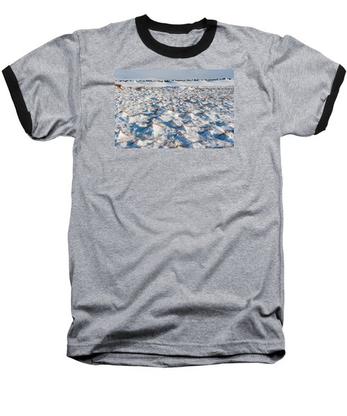 Snow Covered Grass Baseball T-Shirt