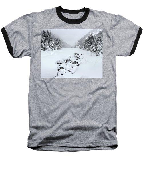 Snow Covered Lake Baseball T-Shirt