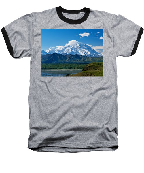 Snow-covered Mount Mckinley, Blue Sky Baseball T-Shirt