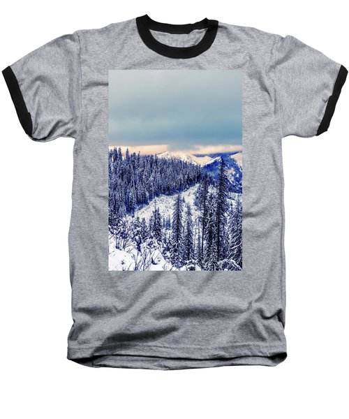 Snow Covered Mountains Baseball T-Shirt