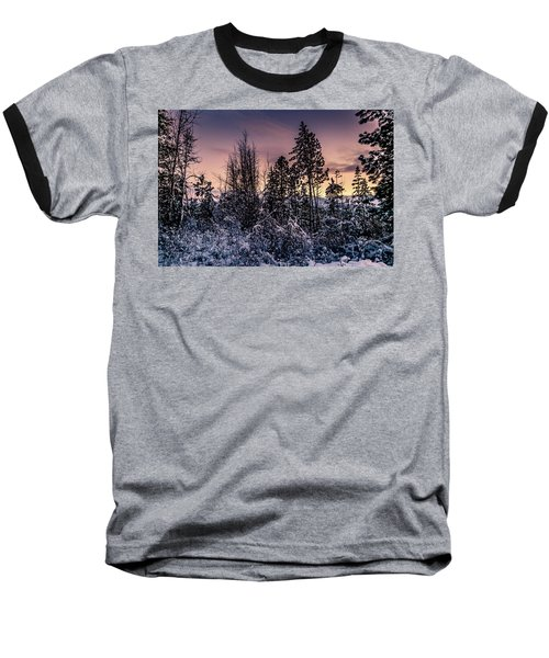 Snow Covered Pine Trees Baseball T-Shirt