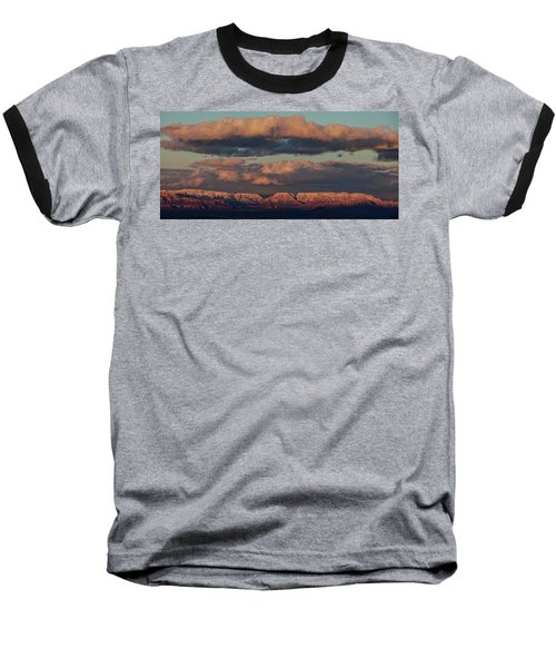 Snow Covered Red Rock Panorama Baseball T-Shirt