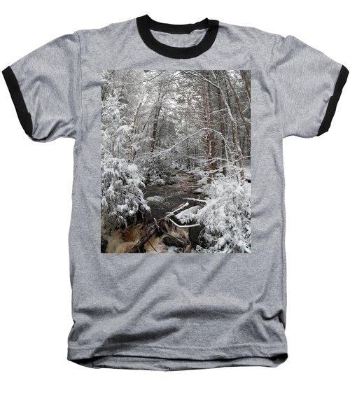 Snow Covered River Baseball T-Shirt