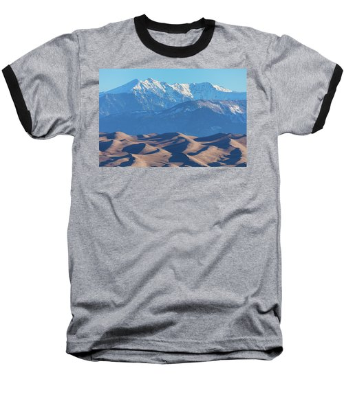 Snow Covered Rocky Mountain Peaks With Sand Dunes Baseball T-Shirt by James BO Insogna