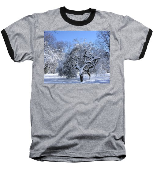Baseball T-Shirt featuring the photograph Snow-covered Sunlit Apple Trees by Byron Varvarigos