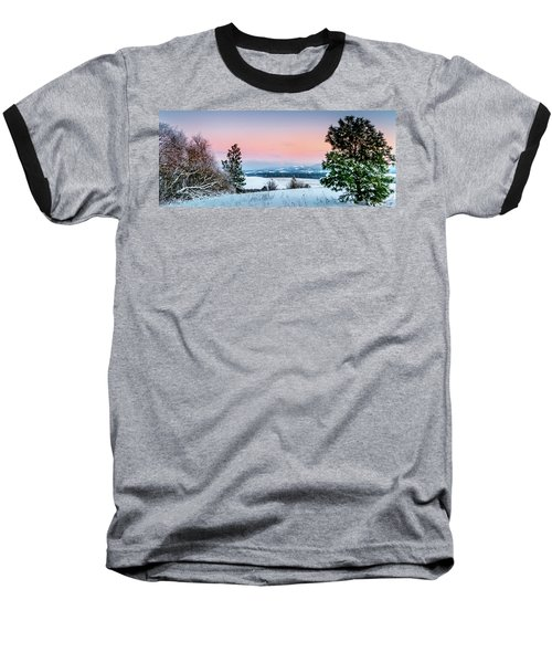Snow Covered Valley Baseball T-Shirt