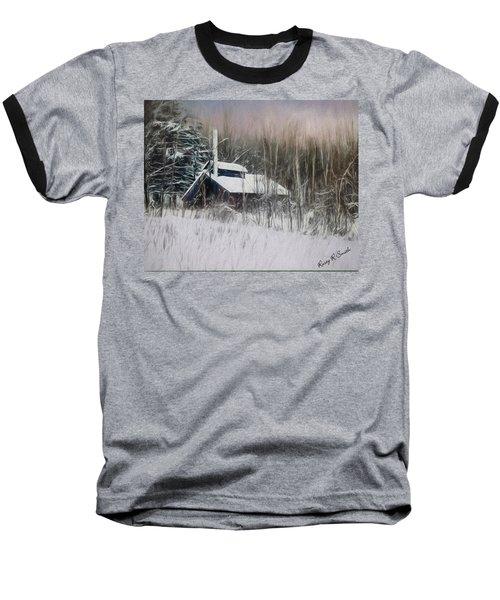 Snow Covered Vermont Sugar Shack.  Baseball T-Shirt