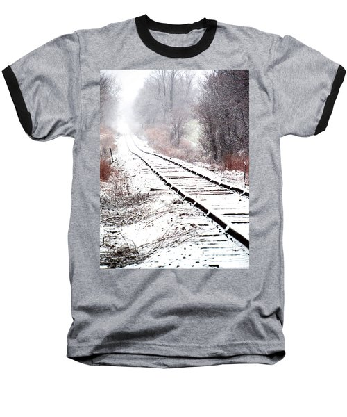 Snow Covered Wisconsin Railroad Tracks Baseball T-Shirt