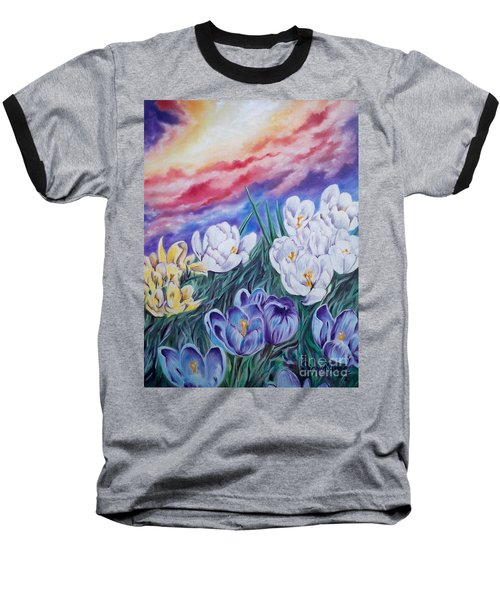 Baseball T-Shirt featuring the painting Snow Crocus by Sigrid Tune