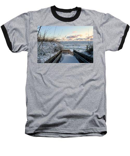 Snow Day At The Beach Baseball T-Shirt