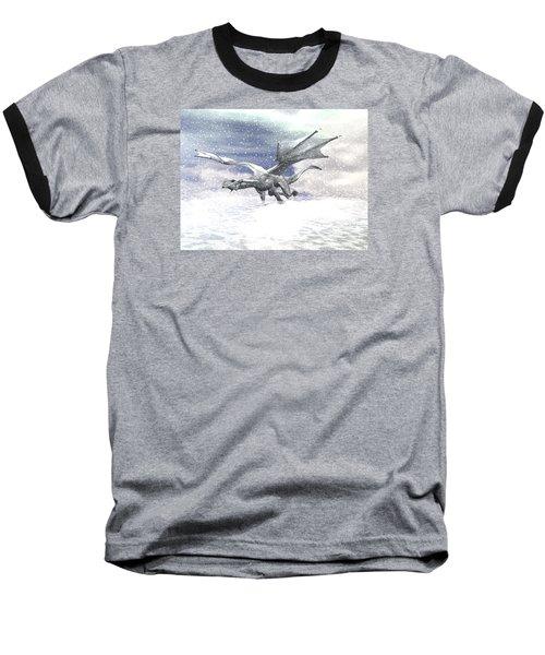 Snow Dragon Baseball T-Shirt by Michele Wilson