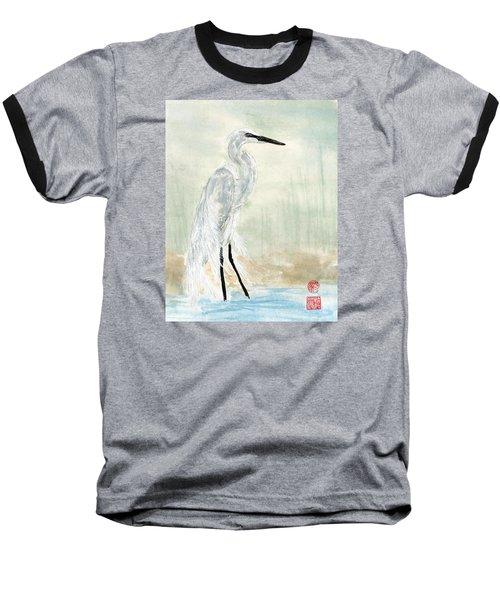 Snow Egret Baseball T-Shirt