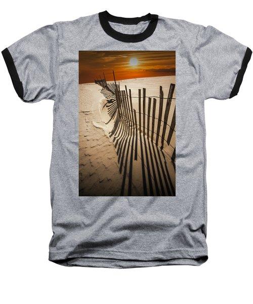 Snow Fence At Sunset Baseball T-Shirt